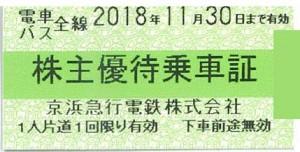 京浜急行(京急)電鉄株主優待乗車証(切符タイプ) 2018年11月30日期限