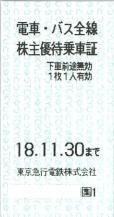 東急電鉄株主優待乗車証(切符タイプ) 2018年11月30日期限