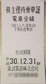東武鉄道株主優待乗車証(切符タイプ) 2018年12月31日期限