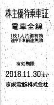 京成電鉄株主優待乗車証(切符タイプ) 2018年11月30日期限