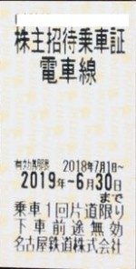 名古屋鉄道(名鉄)株主優待乗車証(切符タイプ) 2019年6月30日期限