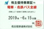 名鉄株主優待(定期型)電車・バス全線(19/6/15)