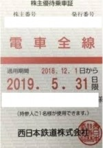 西鉄株主(定期型)電車全線(19/5/31期限)