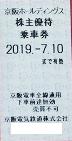 京阪電鉄株主優待乗車券 2019年7月10日期限