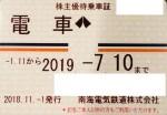 南海株主優待(定期型)電車・バス全線(19/7/10)
