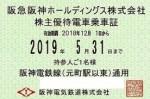 阪神電鉄株主優待(定期型)電車全線 2019年5月31日期限