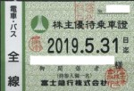 富士急行株主優待(定期型)電車・バス 2019年5月31日期限