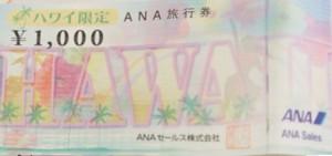 ハワイ限定 ANA旅行券 1000円券