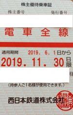 西日本鉄道(西鉄)株主優待(定期型)電車全線 2019年11月30日期限