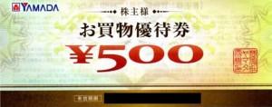 ヤマダ電機 株主お買物優待券 500円券