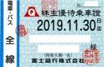 富士急行株主優待(定期型)電車・バス 2019年11月30日期限