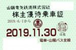 山陽電鉄 株主優待(定期型)電車・バス全線 2019年11月30日期限