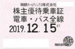 相模鉄道(相鉄)株主優待(定期型)電車・バス 2019年12月15日期限