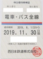 西日本鉄道(西鉄)株主優待(定期型)電車・バス全線 2019年11月30日期限