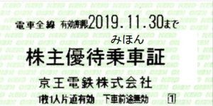 京王電鉄株主乗車証 2019年11月30日期限