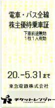 東京急行電鉄(東急)株主乗車証 2020年5月31日期限