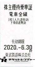 東武鉄道株主優待証 2020年6月30日期限