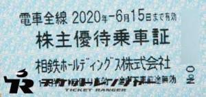 相模鉄道(相鉄)株主乗車証 2020年6月15日期限