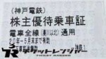 神戸電鉄株主優待乗車証 2020年5月末期限