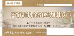 東建コーポレーション株主優待券 ホテル多度温泉 宿泊30%割引券