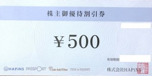 ハピンズ株主優待券(HAPiNS/RIZAP ライザップグループ)500円券