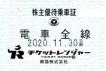 東京急行(東急)株主優待(定期型)電車全線 2020年11月30日期限