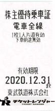 東武鉄道株主優待乗車証(切符タイプ) 2020年12月31日期限
