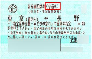 東京長野新幹線回数券