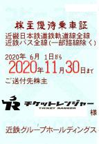 近畿日本鉄道(近鉄)株主優待(定期型)電車・バス全線 2020年11月30日期限