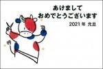 2021年用(令和3年)デザイン印刷済み年賀状(年賀はがき) 額面63円(5枚セット)デザイン44番(1枚@88円)