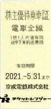 京成電鉄株主優待乗車証(切符タイプ) 2021年5月31日期限