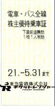 東京急行電鉄(東急)株主優待乗車証(切符タイプ) 2021年5月31日期限