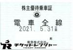 東京急行(東急)株主優待(定期型)電車全線 2021年5月31日期限