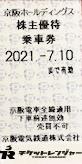 京阪電鉄株主優待乗車券(切符タイプ)2021年7月10日期限