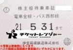 伊豆箱根鉄道株主優待(定期型)電車全線・乗合バス 2021年5月31日期限