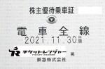 東京急行(東急)株主優待(定期型)電車全線 2021年11月30日期限