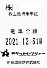 新京成電鉄株主優待(定期型)電車全線 2021年12月31日期限