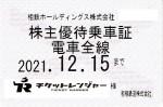 相模鉄道(相鉄)株主優待(定期型)電車全線 2021年12月15日期限