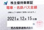 名古屋鉄道(名鉄)株主優待(定期型)電車・バス全線 2021年12月15日期限